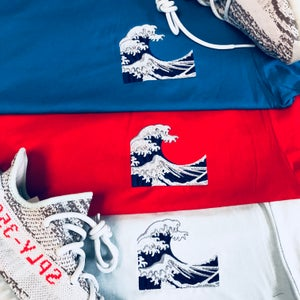 Image of WAVE EMBROIDERY (BLUE TINT) T-SHIRT