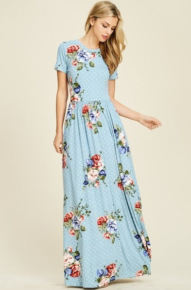 Image of Polka Dot Floral Navy Maxi Dress | S-XL