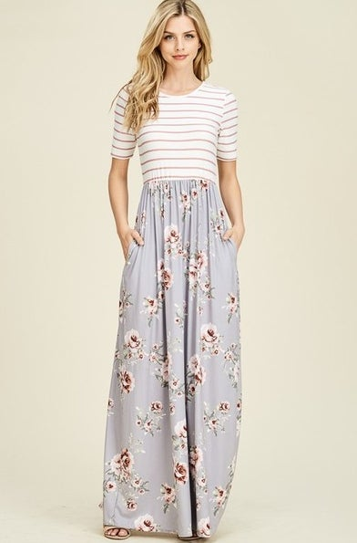 Image of Stripe & Floral Maxi Pocket Dress