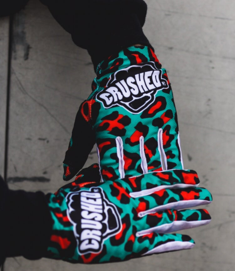 Image of Red and Teal Crushed MX Leopard Gloves