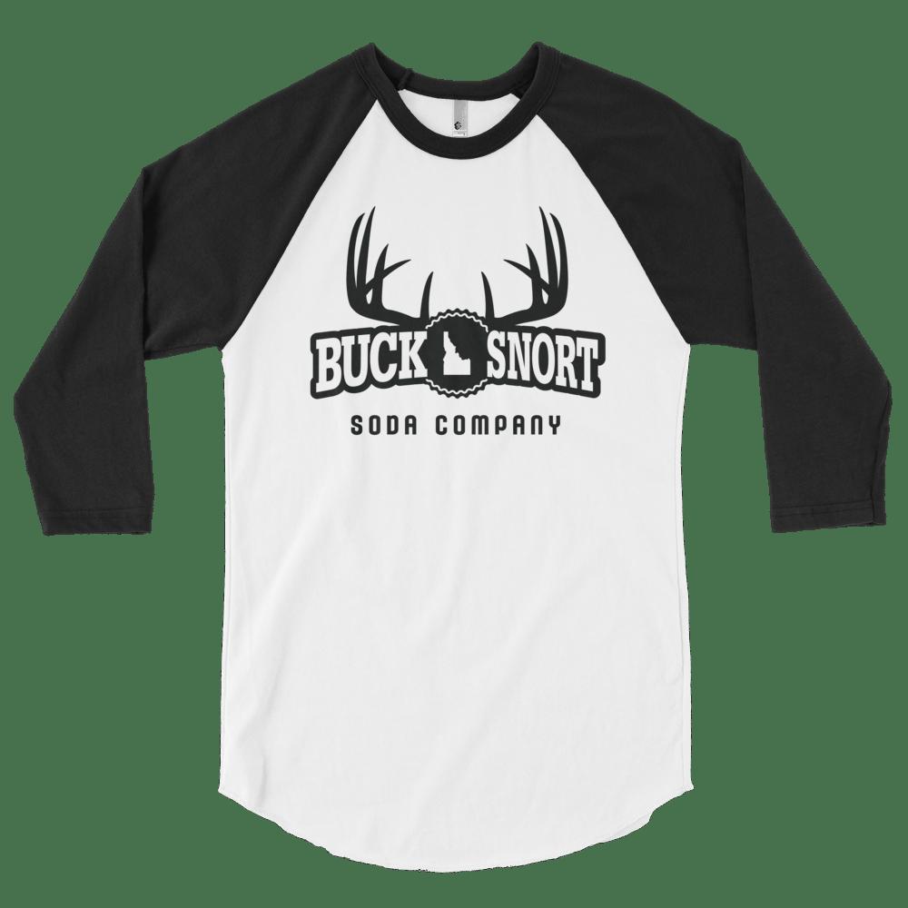Image of BuckSnort White Unisex Baseball T-Shirt