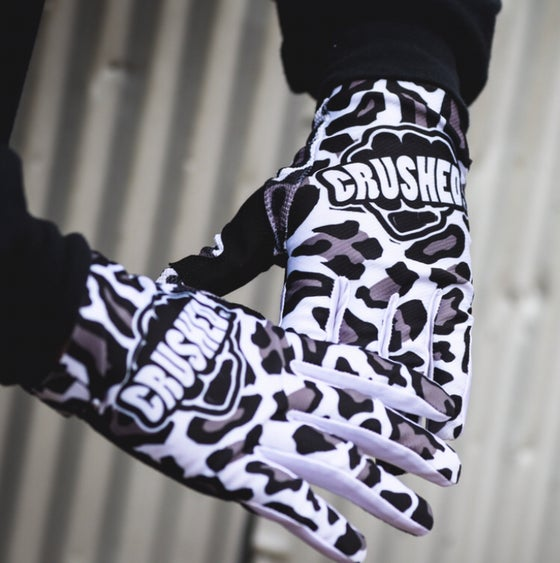 Image of White Grey and Black Crushed MX Leopard Gloves