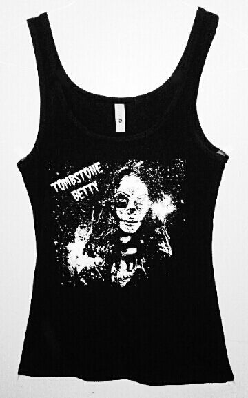 Image of Ladies' black graphic tank