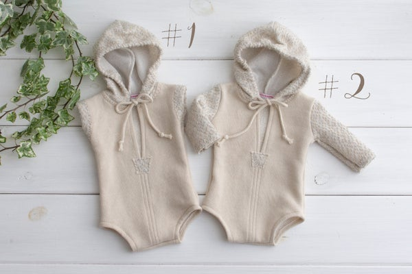 Image of Tim hooded romper / two sizes / two option