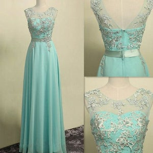 Image of Mint Green Chiffon Lace Appliques Illusion Long Prom Dress With Zipper Back