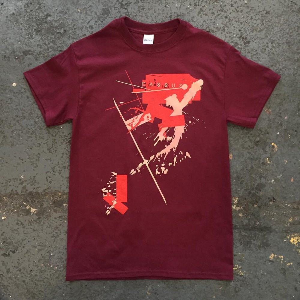 Image of Maroon abstract T shirt