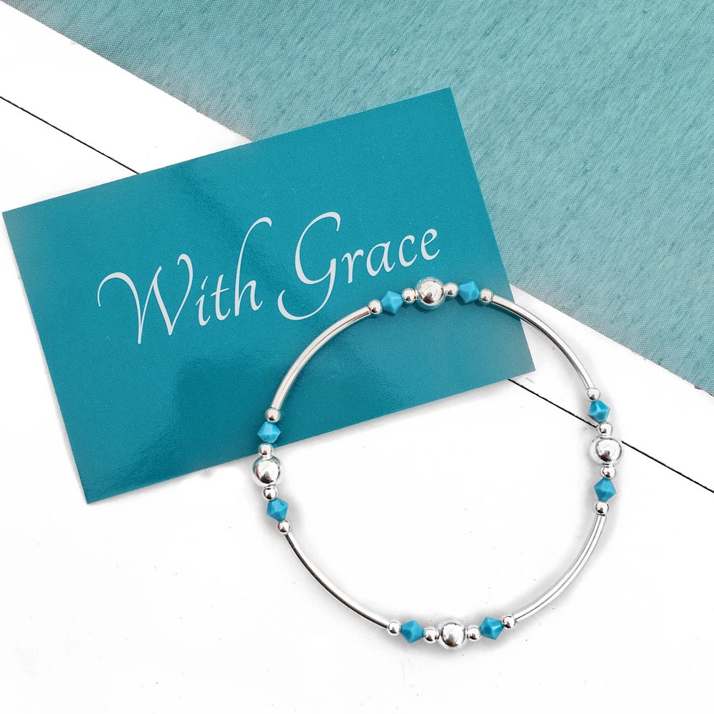 Image of Sterling Silver & Turquoise Noodle Bead Bracelet