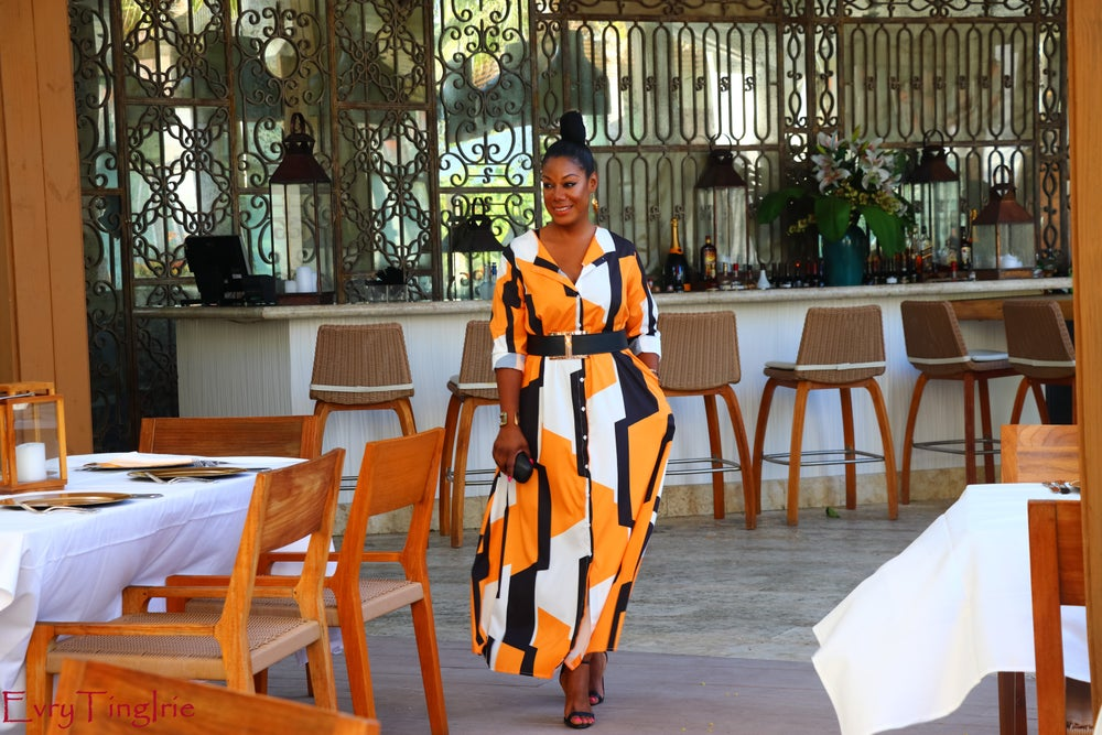 Image of Orange Geometric Button Down Duster Dress