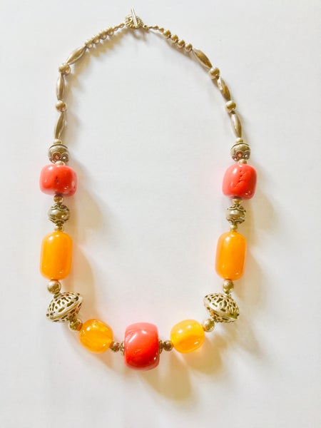 Image of Coral, Amber, and Silver Necklace by Barbara Twohil