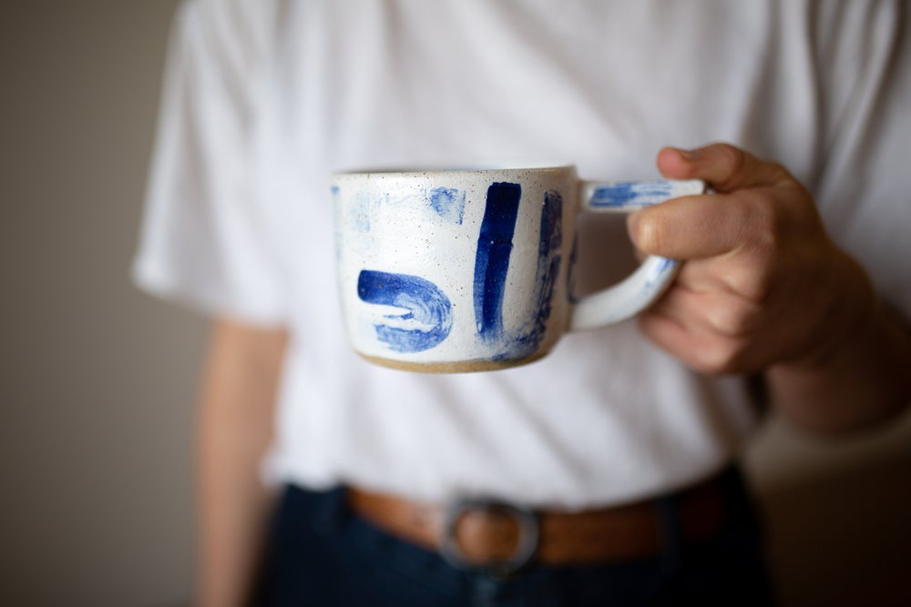 Image of Uuu White and Blue Beak Handle Mug