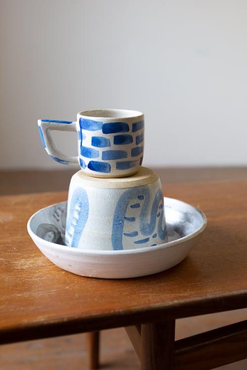 Image of Pre order: White and Blue Brick Beak Handle Mug