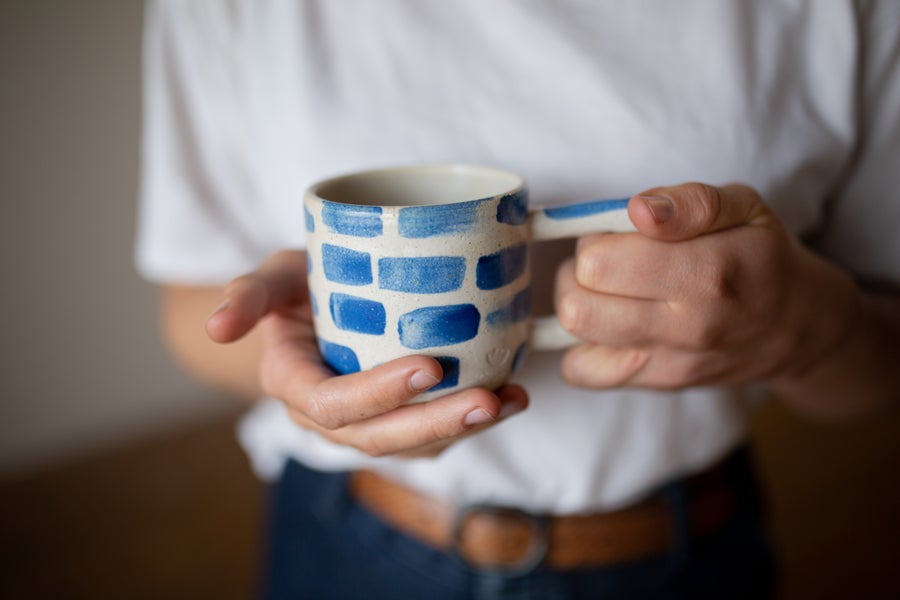 Image of White and Blue Brick Beak Handle Mug
