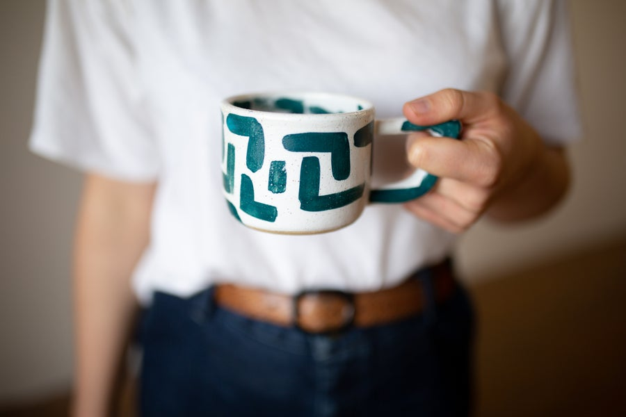 Image of L White and Teal Beak Handle Mug