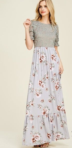 Image of Ruffle Lace & Floral Maxi Dress | S-XL