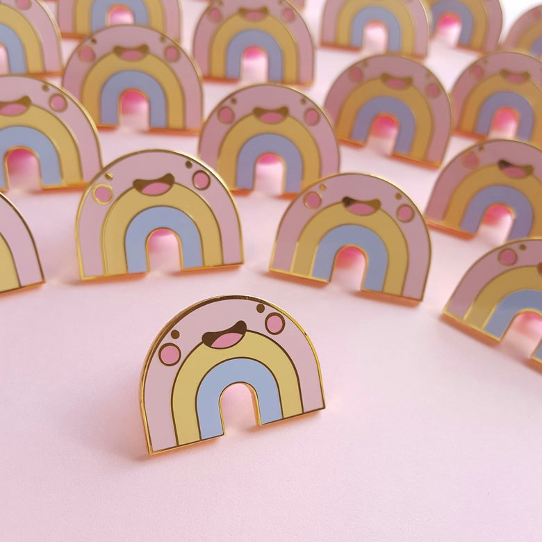 Image of Roxy the Pastel Rainbow Hard Enamel Pin