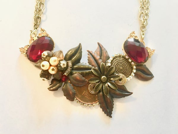 Image of Ruby Glass, Pearl, and Flowers Necklace by the Divine Ms. M.