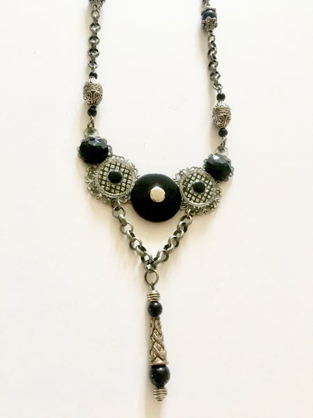 Image of Black and Silver with Drop Pendant Necklace by the Divine Ms. M.