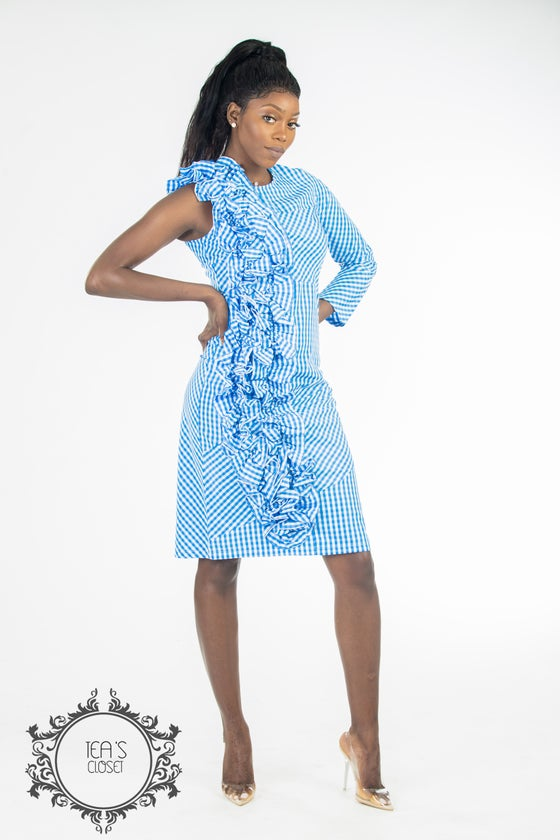Image of FIONA RUFFLE MIDI DRESS