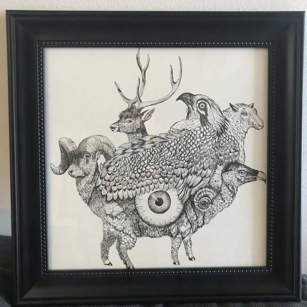"Image of ""Encounters With The Oversoul"" 12""x12"" Original Pen & Ink Framed Drawing"
