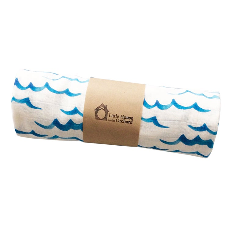 Image of Waves Organic Swaddle Blanket