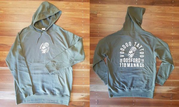 Image of Voodoo Skull on Army Green Hoodie