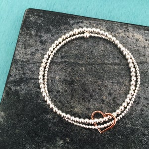 Image of Sterling Silver & Rose Gold Double Heart Bracelet