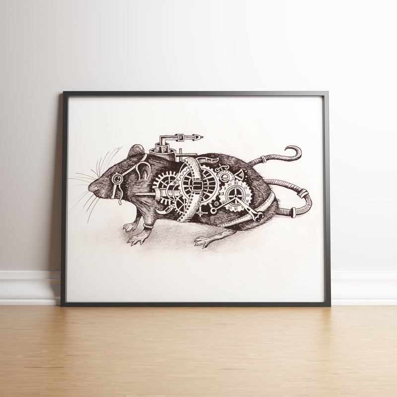 Image of Steampunk Rat limited edition hand signed print