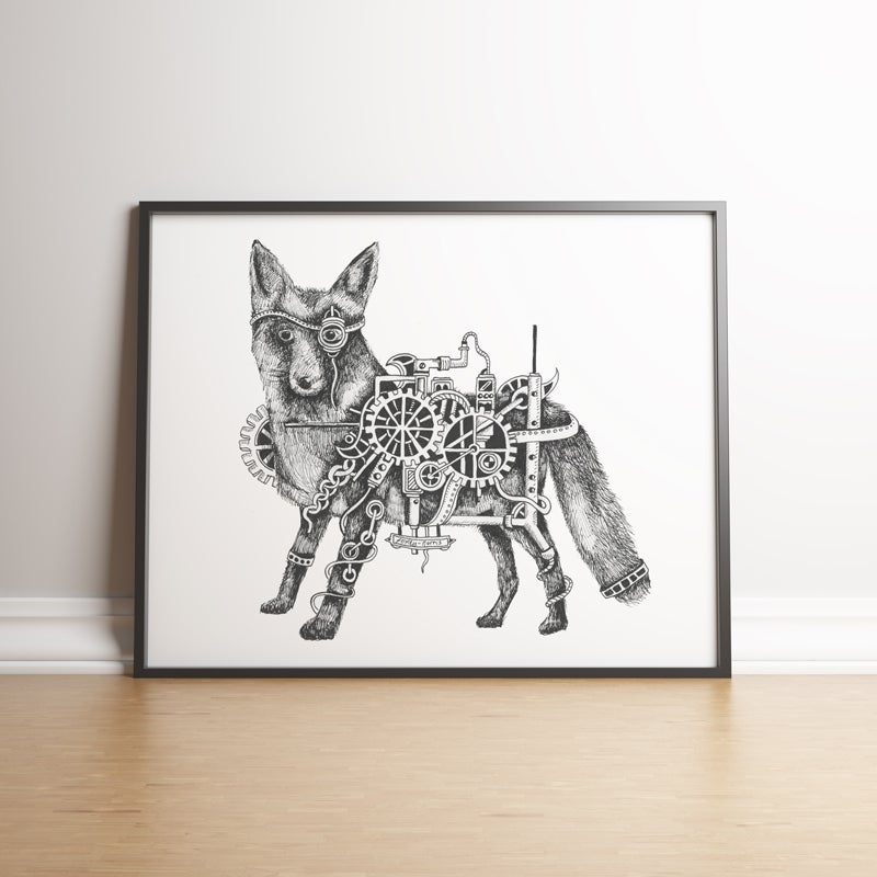 Image of Steampunk Fox limited edition hand signed print