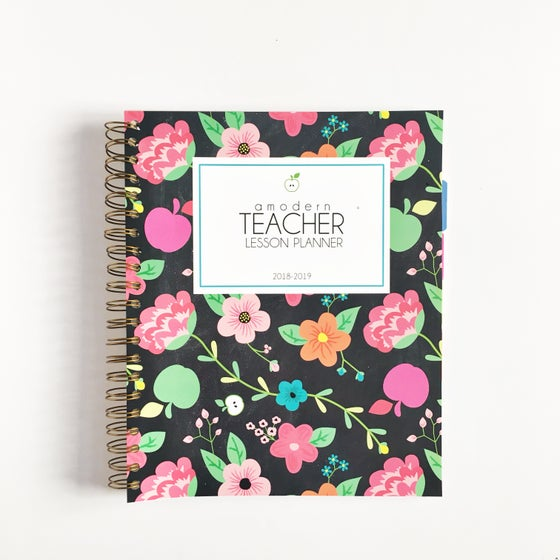 Image of ***Apple Floral*** A Modern Teacher Lesson PLANNER - Coil Bound