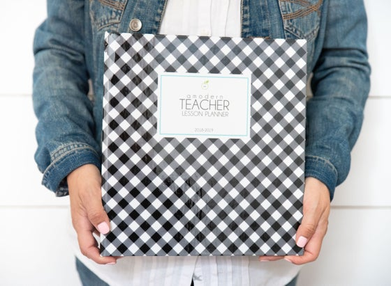 Image of ***Black and White Gingham*** A Modern Teacher Lesson Planning BINDER