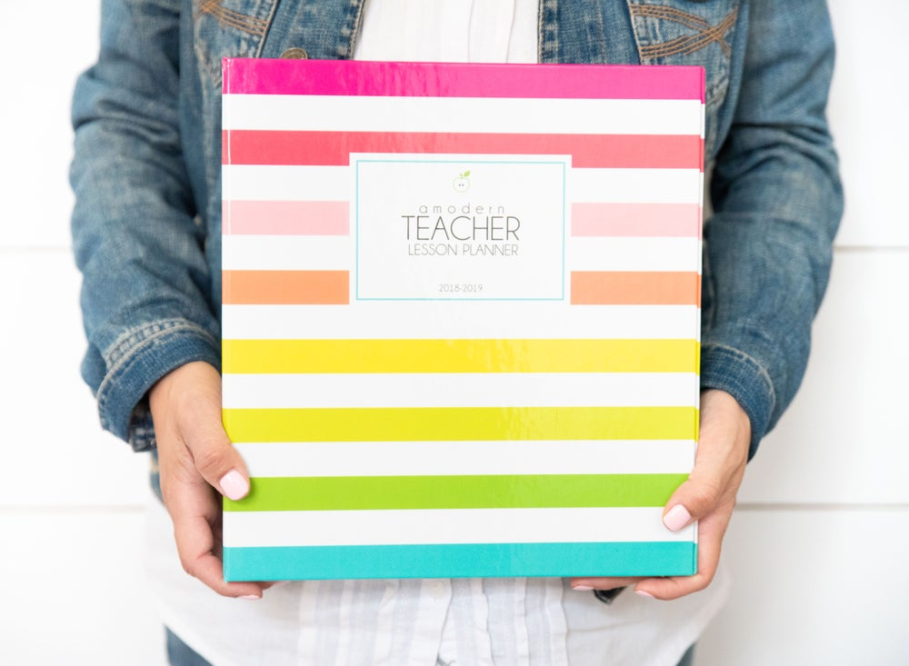 Image of ***Bright Stripes*** A Modern Teacher Lesson Planning BINDER