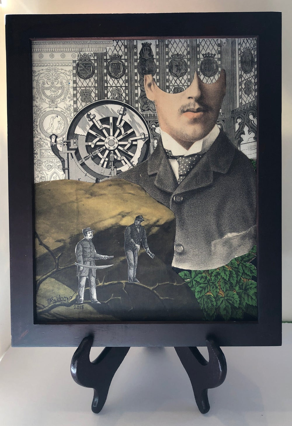 Image of STEAMPUNK Man Men SURREAL Antique Paper Collage: THEY ALWAYS DISAPPEAR
