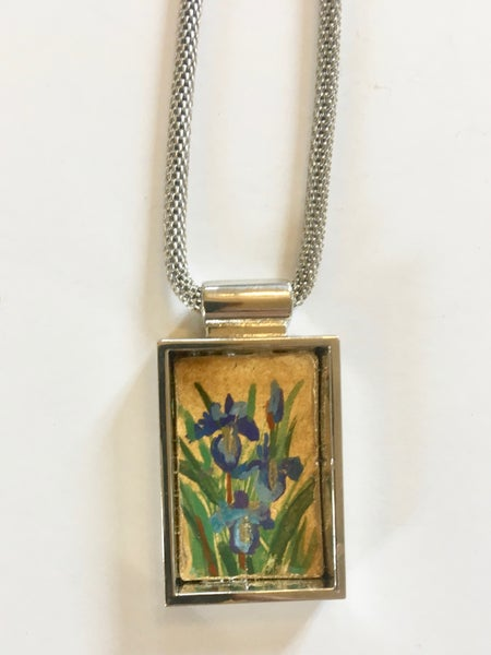 Image of Silver Iris Pendant by Theresa Maresca