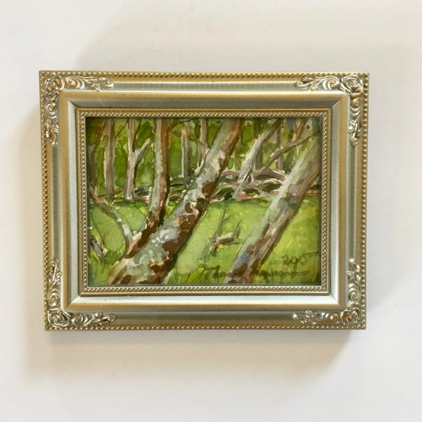 Image of Birch Trees Miniature Painting by Theresa Maresca