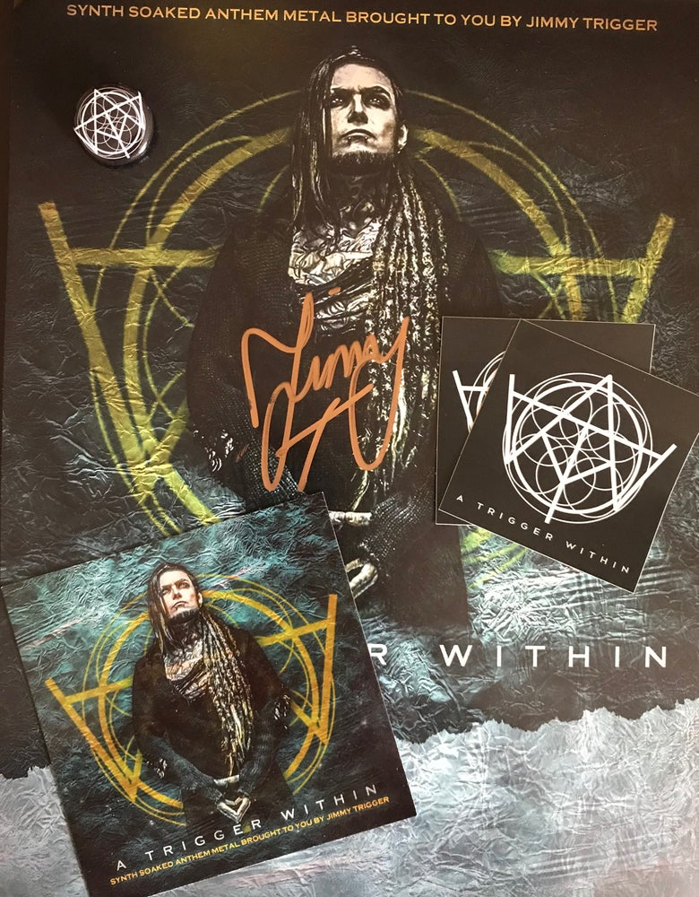 Image of SIGNED POSTER, STICKER, PIN, FLYER BUNDLE - FREE US SHIPPING