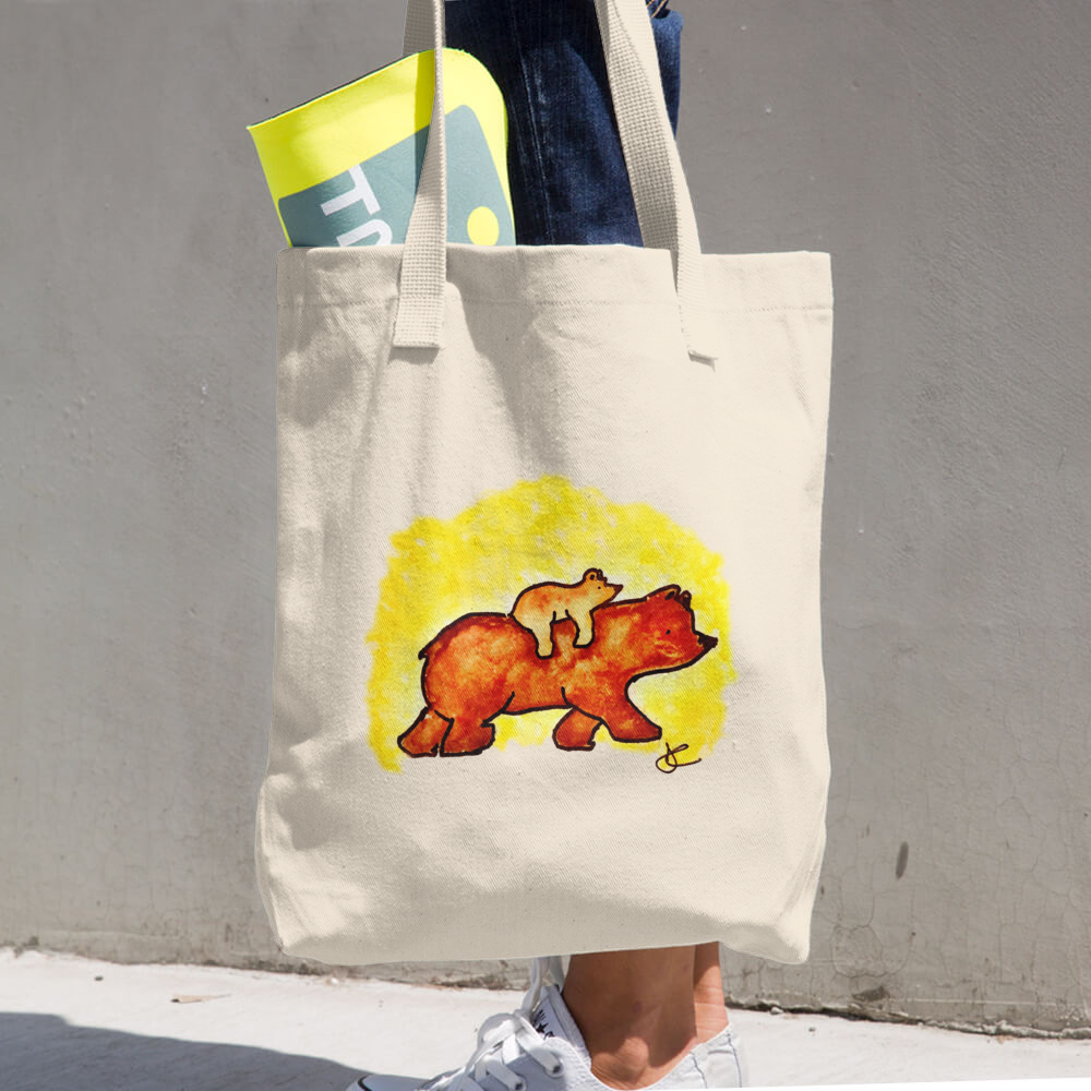 Image of Bear Denim Woven Cotton Tote - Made In The USA
