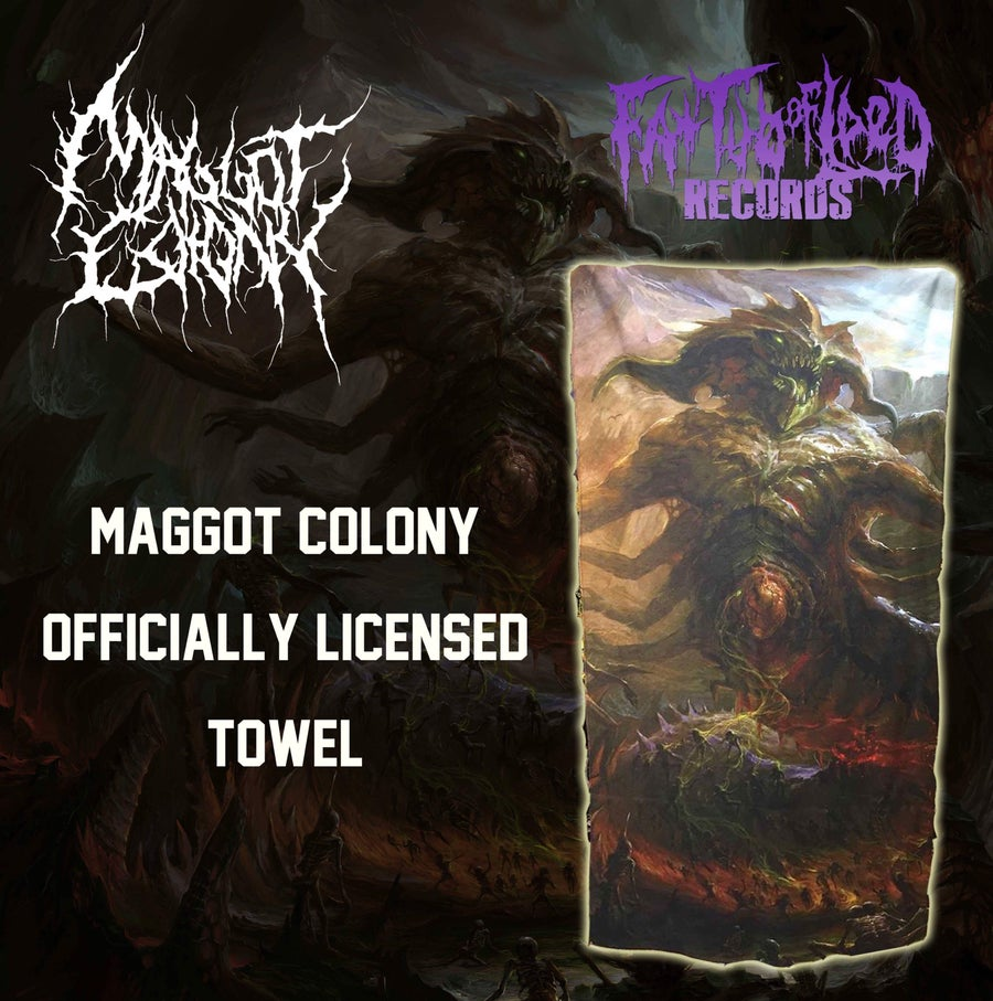 "Image of Officially Licensed Maggot Colony ""Vile Reincarnation"" beach towel!!"