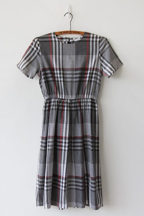Image of SOLD Classic Plaid Grey Dress