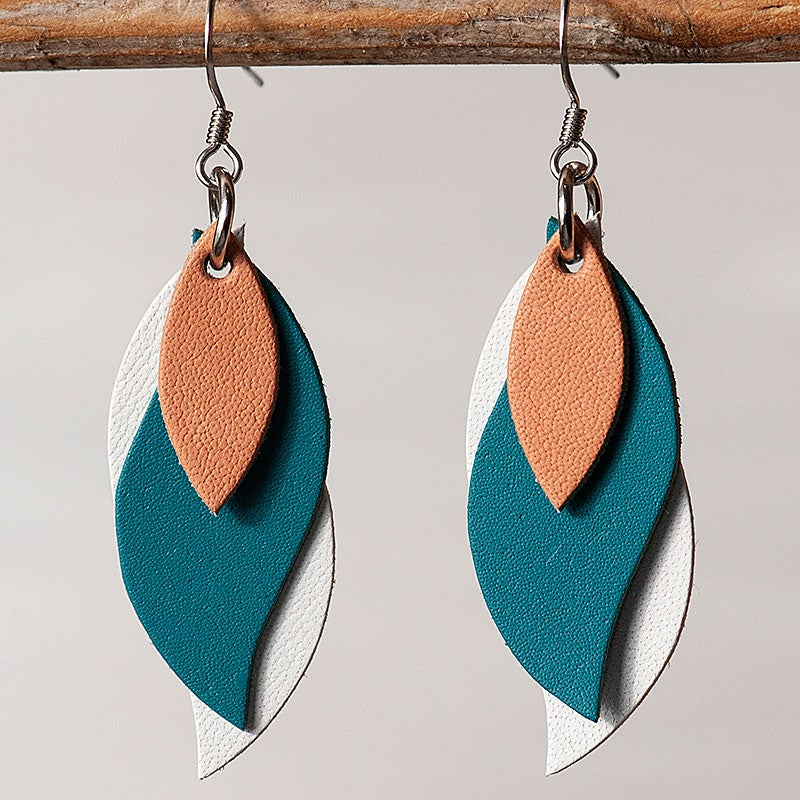 Image of Handmade Kangaroo leather leaf earrings - Tan, teal green, white [LGR-130]