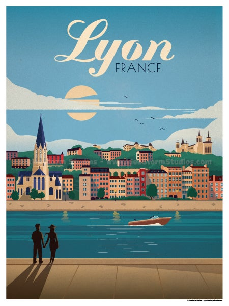 Image of Lyon Poster Blue