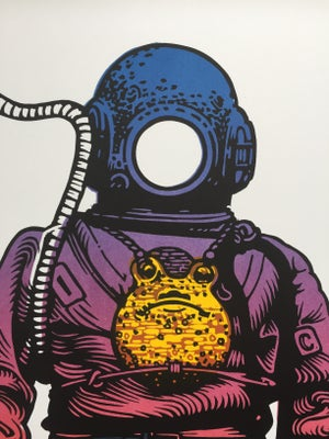Image of Deep Sea Diver (Rainbow) linocut