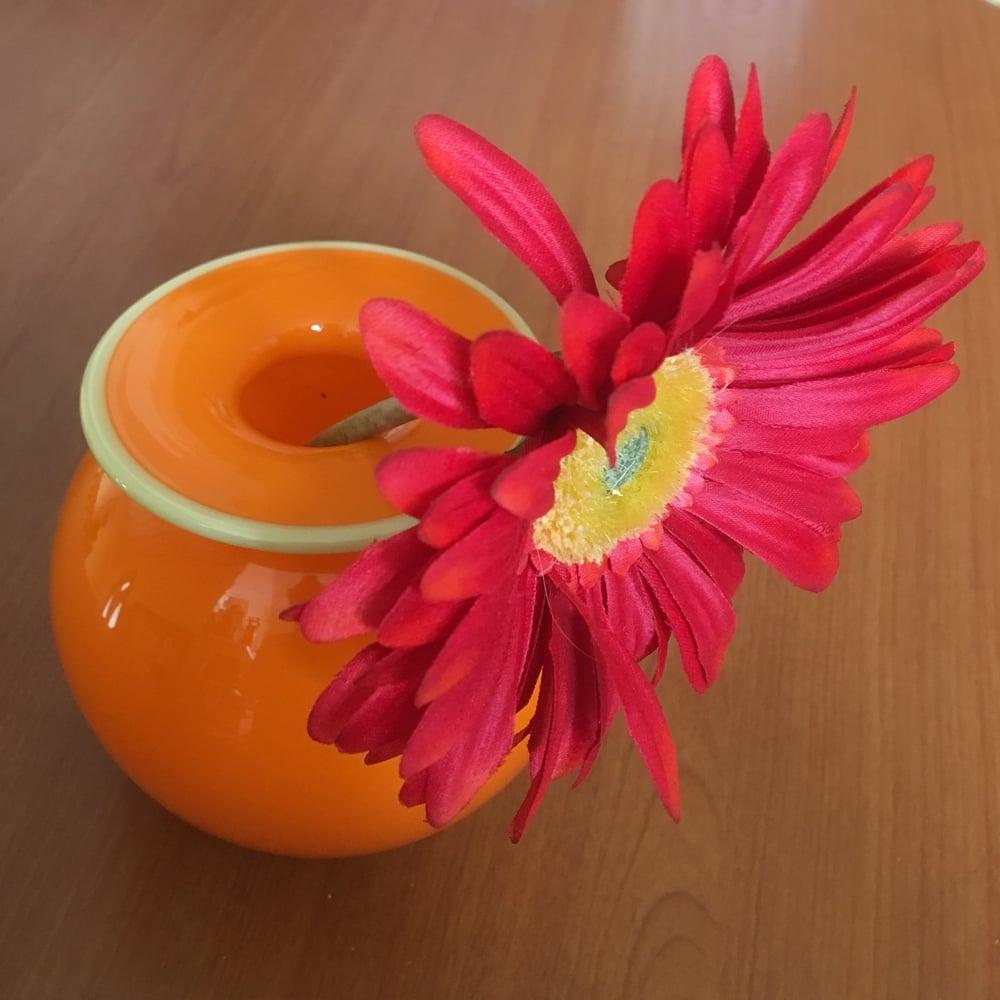 Image of Two Tone Glass Gerbera Vase in Orange