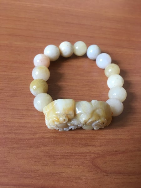 Image of Yellow and White Jade Bracelet with Carving