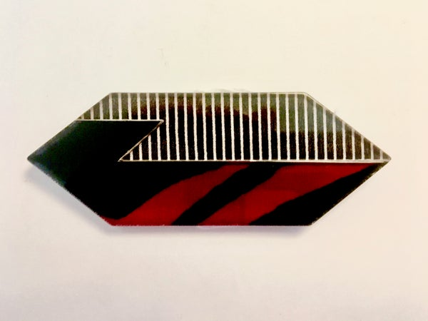 Image of Red, Black, Clear, and White Lucite Brooch by Jean-Marie Poinot (Paris)