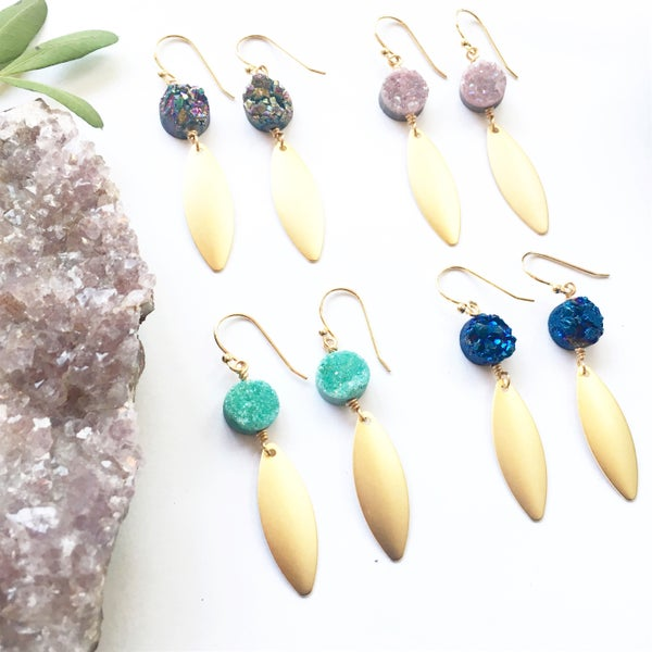 Image of Cosmic Drop Earrings - Aura Agate crystal