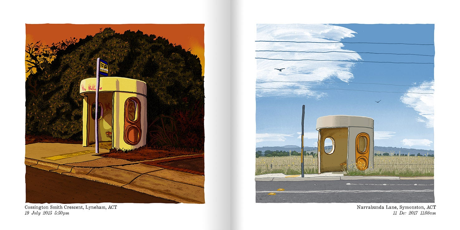 Image of A signed and numbered unfinished edition of Beautiful bus Shelters of Canberra