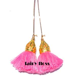 Image of Gold Waikiki Tassel Earrings - Fairy Floss Pink