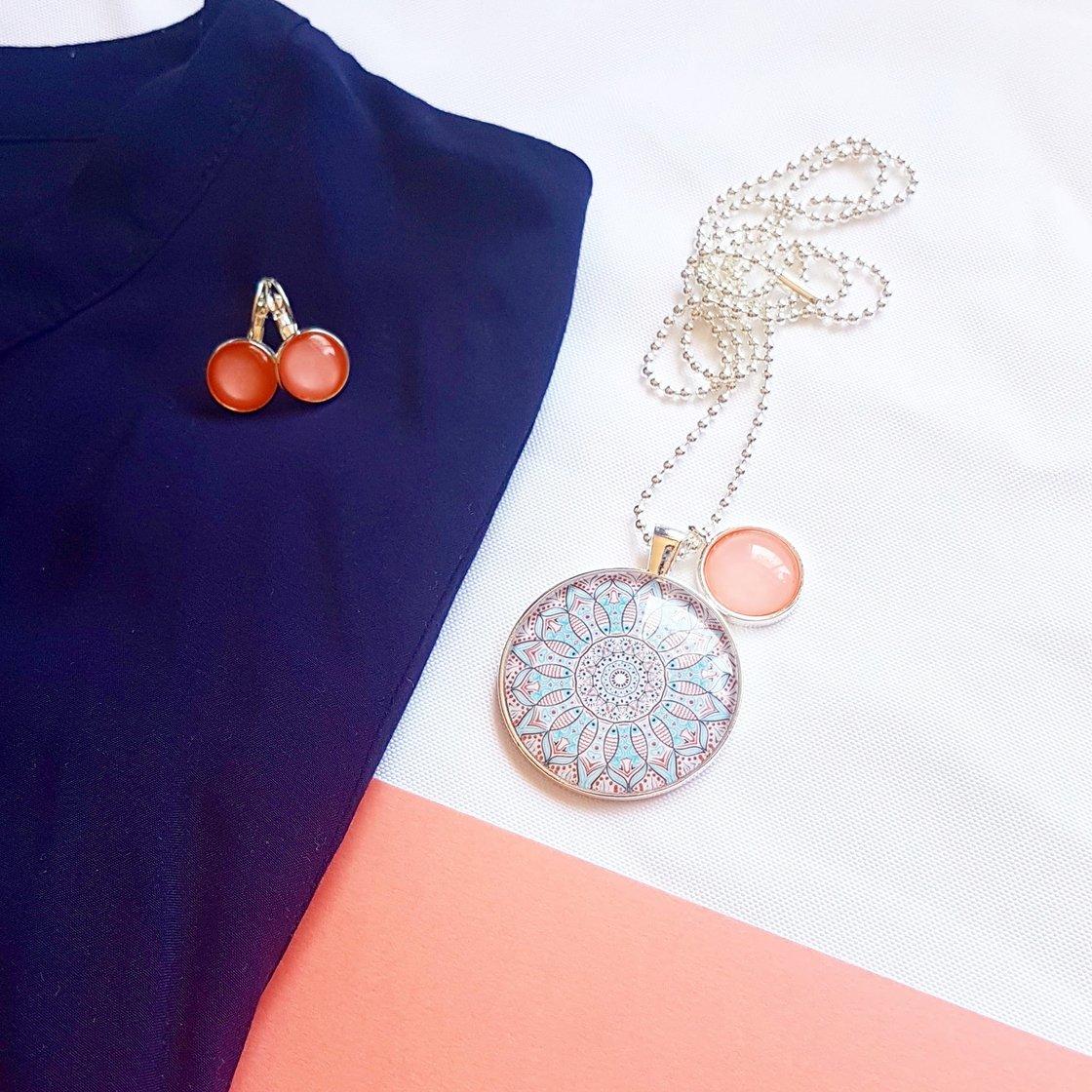 Image of NEW! Gift Set - Coral/sky blue mandala