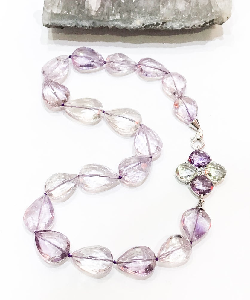 Image of Amethyst Tear Drop Necklace with One Off Clasp
