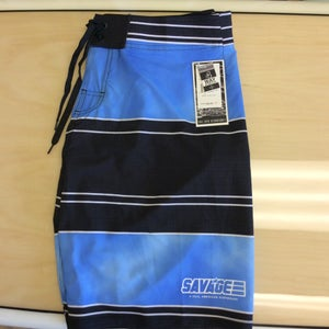 Image of Savage 4-way stretch Board Shorts Black/Blue Stripe